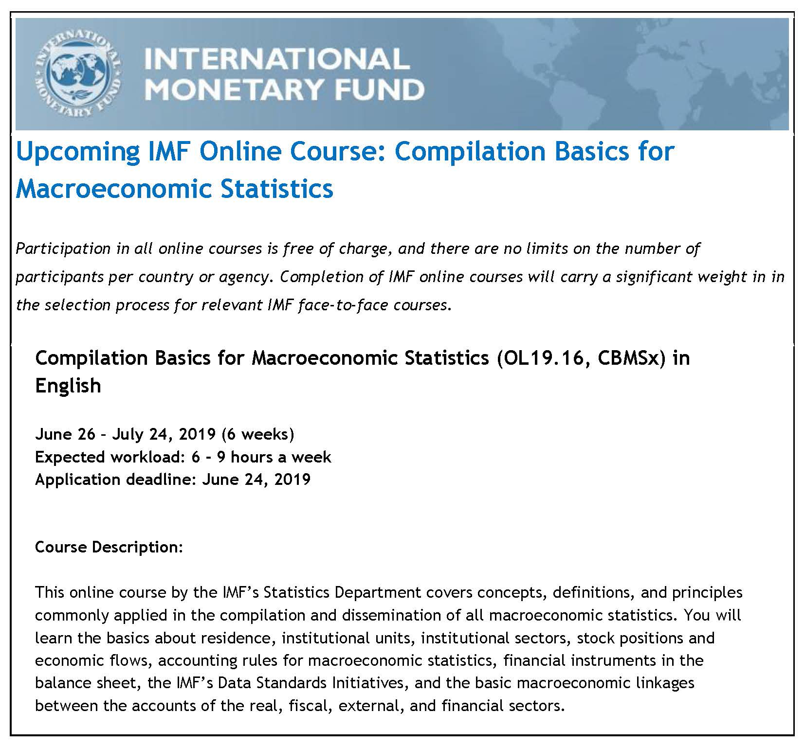 Upcoming IMF Online Course